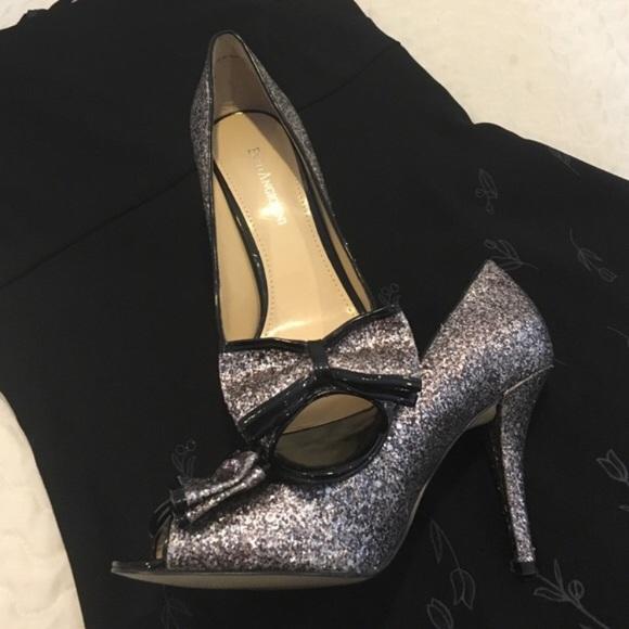 dda18689f518 Enzo Angiolini Glitter Heels Black Silver W Bow